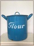 ホーロー◇FLOUR缶(ブルー)